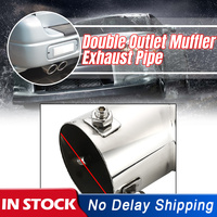 63mm dupla saída de aço inoxidável chrome silenciador do carro tubo de escape ponta extremidade guarnição modificado cauda garganta forro tubo prata