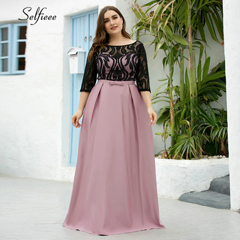 Elegant Dresses A-Line O-Neck Empire Bow Lace Contrast Color Sexy Womans Evening Formal Party Gowns Plus Size 2020 Robe