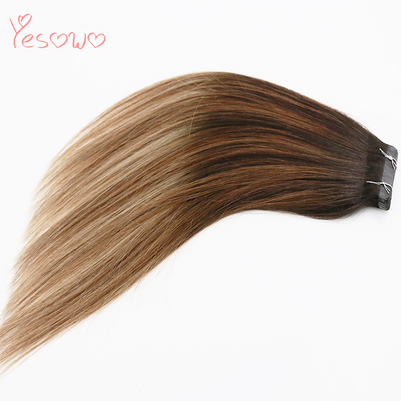 Yesowo 1b/6/27# 14Inch 20Inch Ombre Seamless Hair Extension Tape In Straight 20PCS Cheap Indian Remy Human Hair