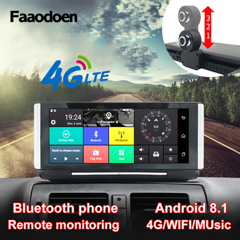 Faaodoen 7 Inch 4G Car DVR Camera GPS FHD 1080P Android Dash Cam Navigation ADAS Car Video Recorder Dual Lens Dashboard camera image