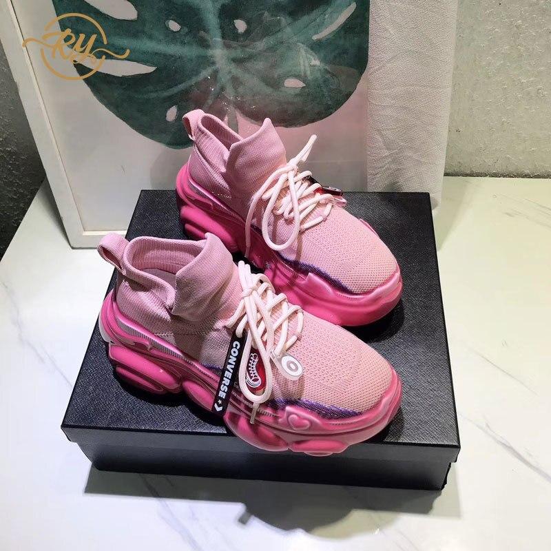 RY-RELAA Pele De Porco das mulheres das sapatilhas 2018 moda mulheres sapatos casuais ins meias estilo sapatos mulheres sapatilhas sapatos de luxo mulheres projetistas
