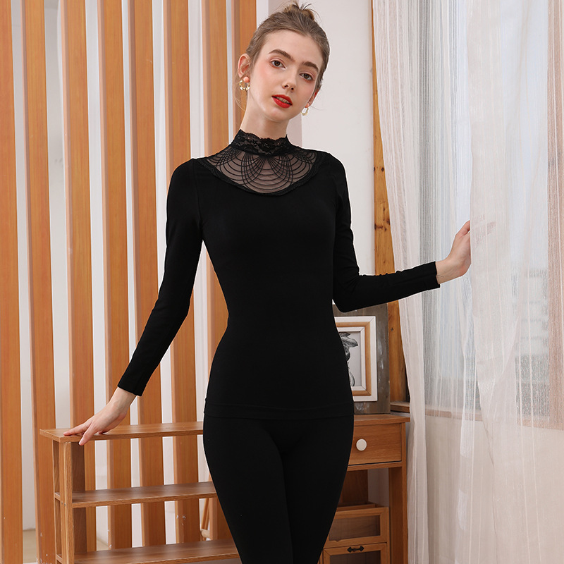 New Elegant Lace Turtleneck Long Johns For Women Winter Clothes Sexy Bodycon Second Skin Female Thermal Underwear Two-piece Set