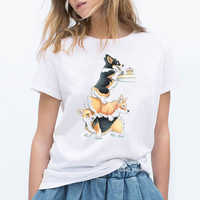Lindas camisetas con estampado de animales de Corgi, divertidas camisetas para mujeres, kawaii, amantes de los perros, amigos, regalo de cumpleaños, camiseta femenina, camisetas gráficas tumblr