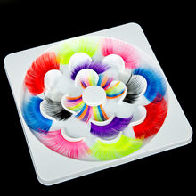 7 Pairs Fashion Colorful False Eyelashes 3D Faux Mink Eye Lashes Colors Full Strip Fluffy Costume Party Eyelash Make Up Beauty