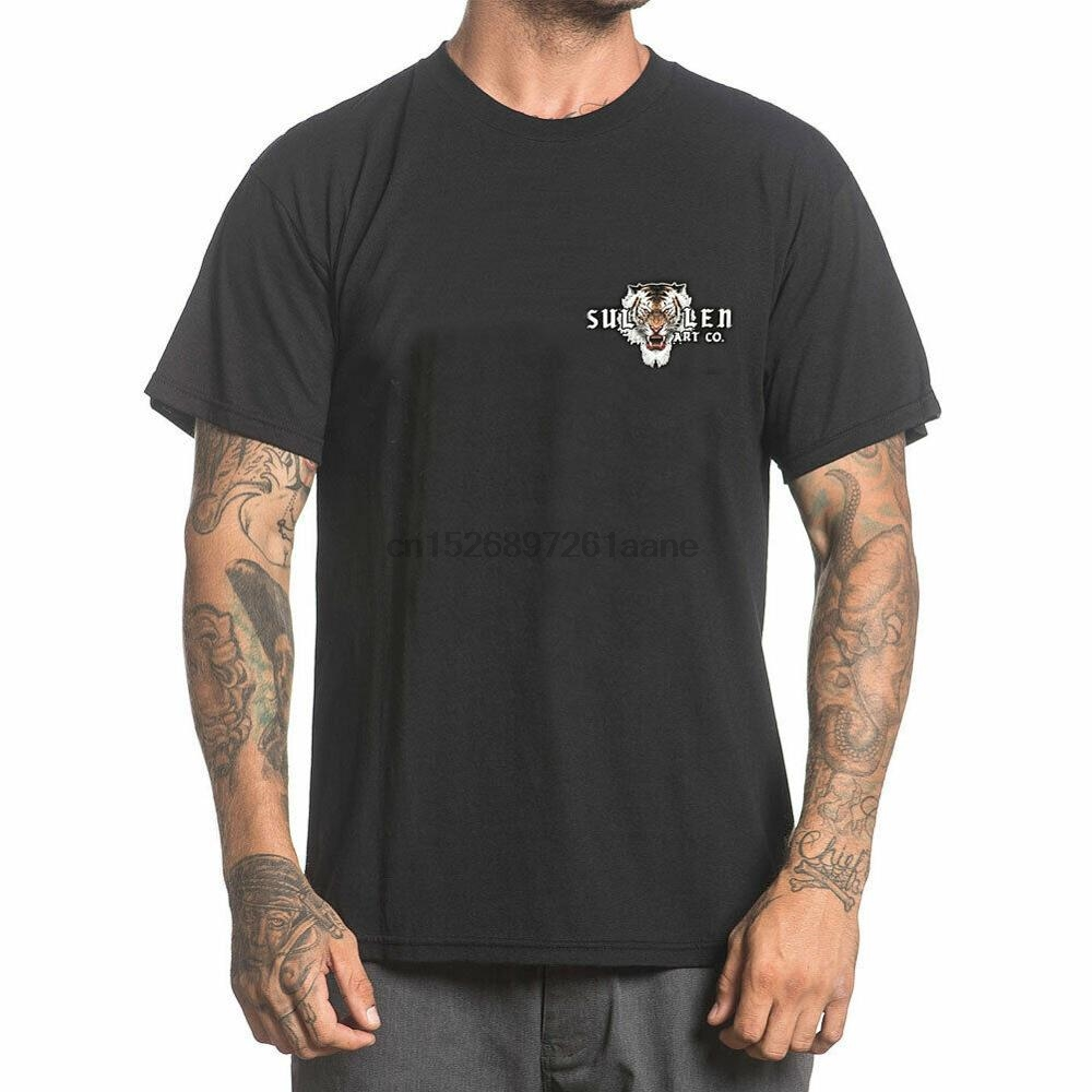 Sullen Men Caspian Short Sleeve T Shirt Black Clothing Apparel Tattooed New 2019 Hip Hop Men Fashion Shirts(China)