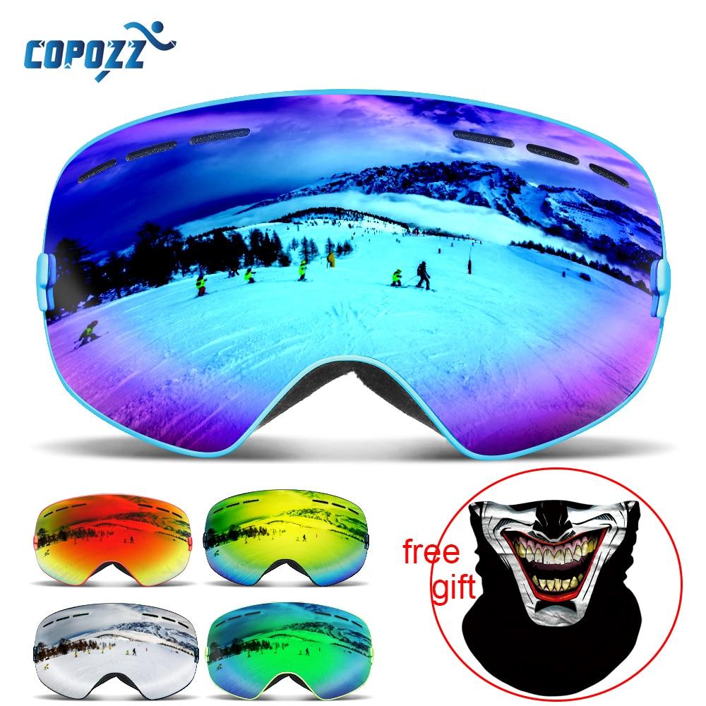 COPOZZ Ski Googles Magnetic Snowboard Glasses For Skiing Double Layer Anti-fog Ski Mask Glasses Snow Men Women Polarized Goggles