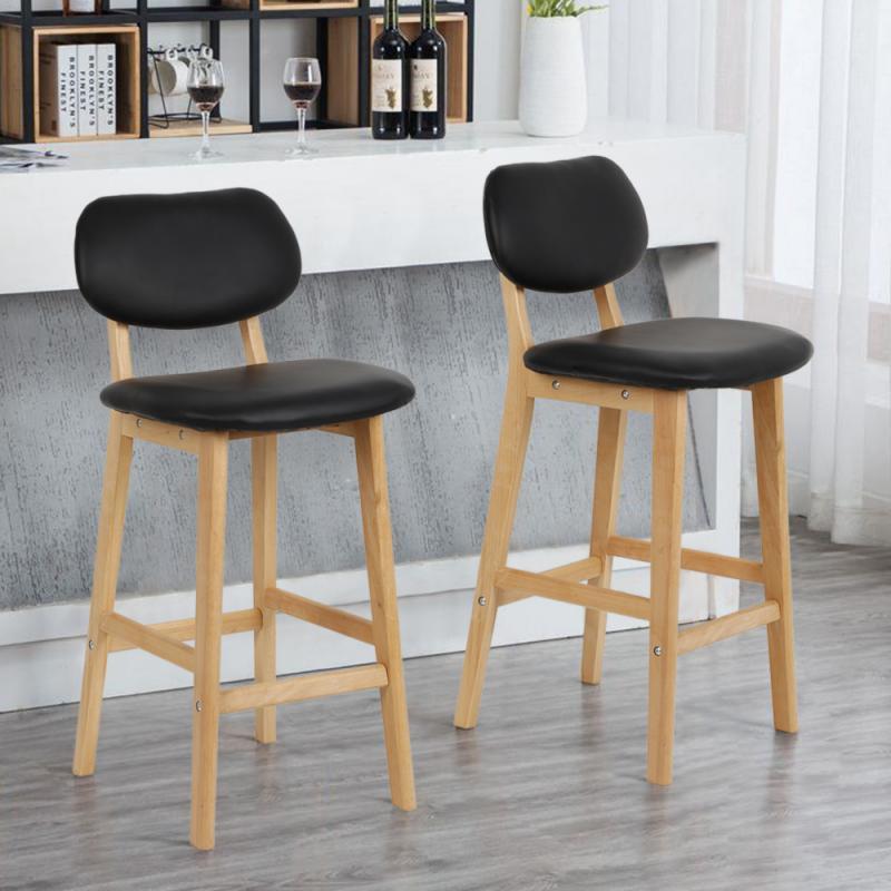 2 Pçs/set Preto Pernas Faia Tamboretes De Barra De Couro Simples High Back Cadeira de Bar Cadeira Do Lazer Cadeiras de Escritório Em Casa Cadeira Da Cozinha HWC