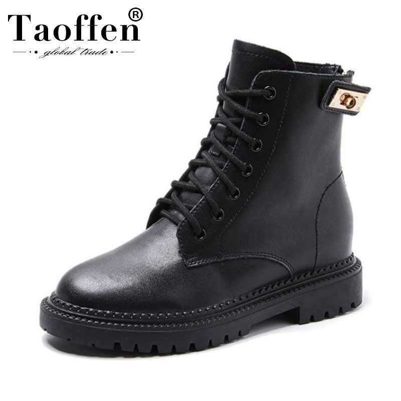 Taoffen จริงหนังผู้หญิงรองเท้าเซ็กซี่รถจักรยานยนต์ฤดูหนาวรองเท้าผู้หญิงรองเท้าแฟชั่น Botas Leisure รองเท้าขนาด 35- 39