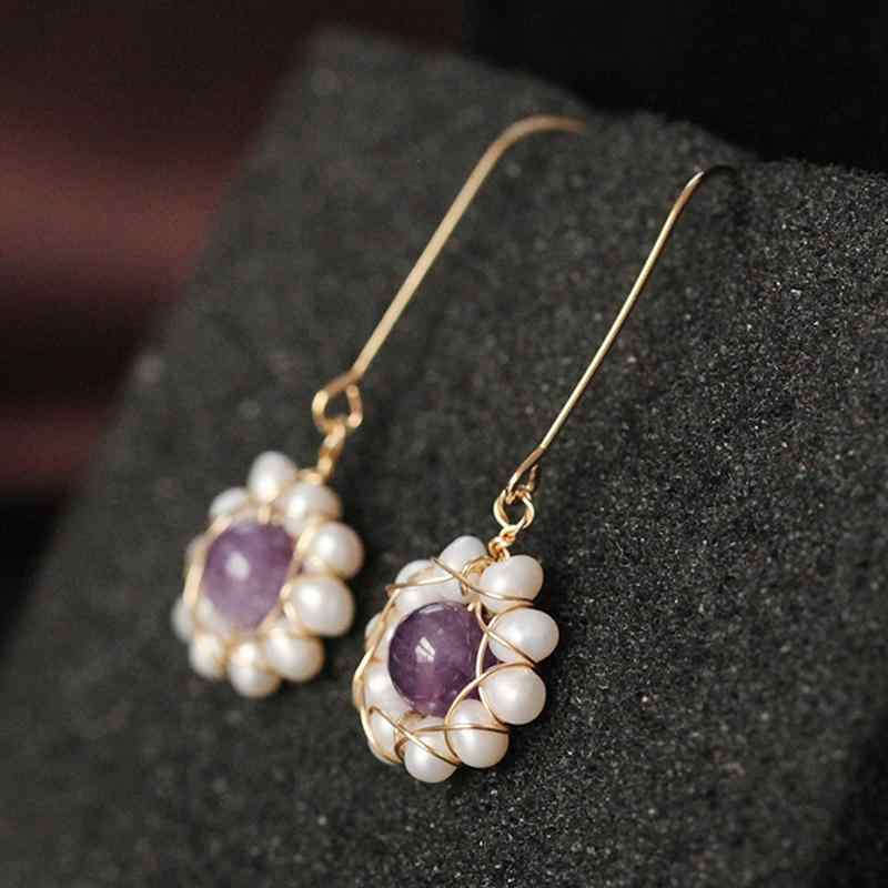 Natürliche Frische Wasser Barocke Perle Lila Stein Blume Baumeln Ohrring Für Frauen Feine Schmuck Haken Ohrring Partei Abend Mode
