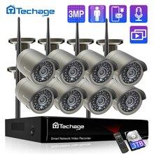 Techage H.265 8CH 3MP Wireless Sistema di Telecamere di Video Esterno Audio Record Wifi Macchina Fotografica del IP di P2P CCTV di Sicurezza di Sorveglianza NVR Kit