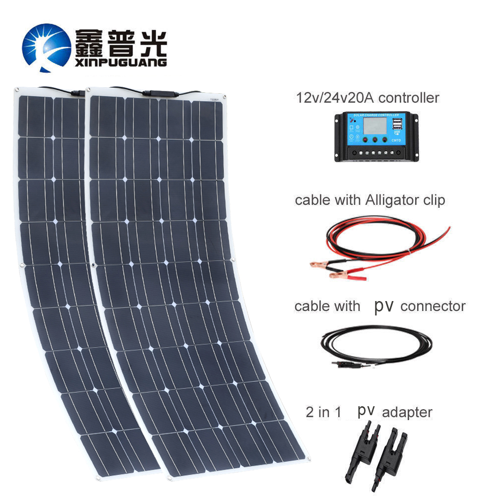 XINPUGUANG 100W Watts 18V Monocrystalline Solar Panel Module with MC4 Connector for Caravan Home 12v Battery Charging 100w
