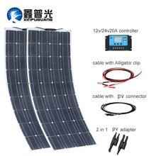 200w 18v 100w panel solar flexible 12v Cargador solar monocristalino Módulo de célula solar caravana RV Sistema de Casa de yate