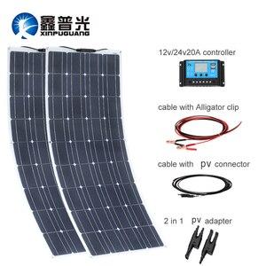 Image 1 - 200w 18v 100w panel solar flexible 12v Cargador solar monocristalino Módulo de célula solar caravana RV Sistema de Casa de yate