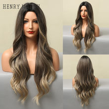 HENRY MARGU Long Body Wavy Synthetic Wigs for Women Ombre Black Brown Blonde Wig Middle Part Cosplay Daily Heat Resistant Hair