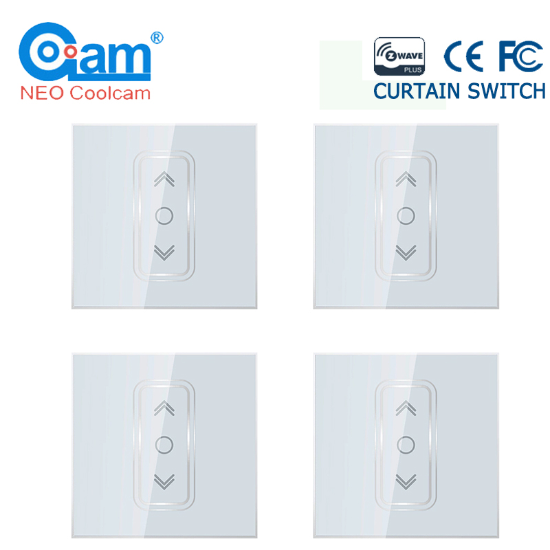 NEO Coolcam 4pcs/lot Smart Home Z Wave Plus Smart Curtain Switch For Electric Motorized Curtain Blind Roller Shutter EU 868.4Mhz