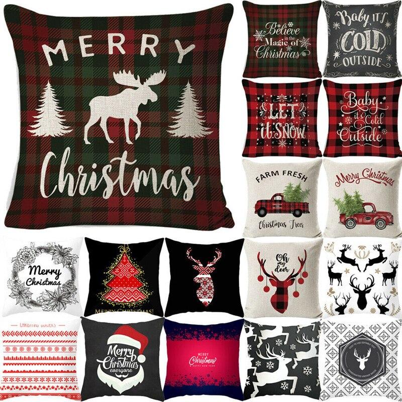 """18/""""x18"""" Xmas Christmas Car Pillow Case Sofa Cushion Cover Throw Home Decor Gift"""