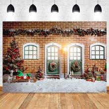 Yeele Зимний Рождественский фон для фотосъемки деревянная дверь