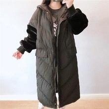 Новые зимние беременных Для женщин Длинная свободная куртка на подкладке из хлопка бархатная отделка: пэтчворк; Хлопок; длинный рукав; с застежкой-молнией по беременности и родам пальто