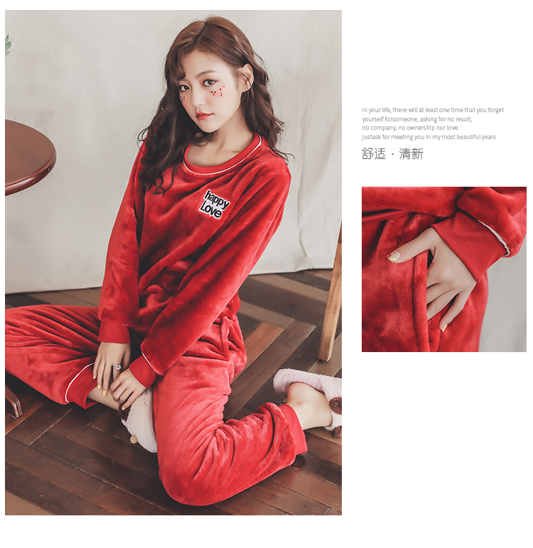 Long Sleeve Warm Flannel Pajamas Winter Women Pajama Sets Print Thicken Sleepwear Pyjamas Plus Size 3XL 4XL 5XL 85kg Nightwear 285