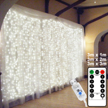 Tira de luces LED para Navidad, cortina de ventana de luces, USB,...