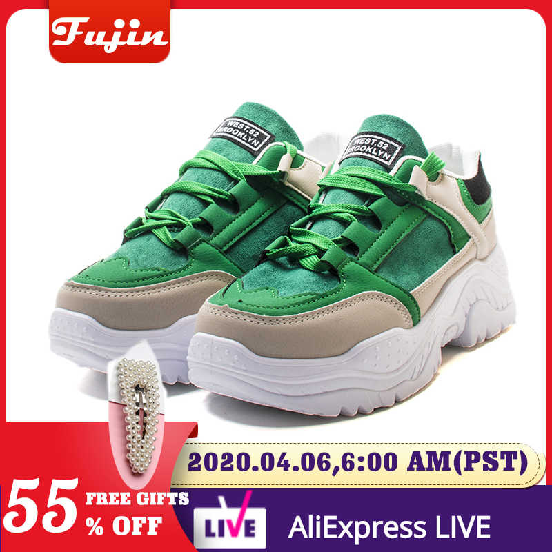 Fujin Nữ Giày Mùa Xuân, Mùa Thu Sneaker Thoáng Mát Cho Nữ Giày Nữ Buộc Dây Giày Bốt Nữ Comrfortable Nền Tảng Giày Nữ