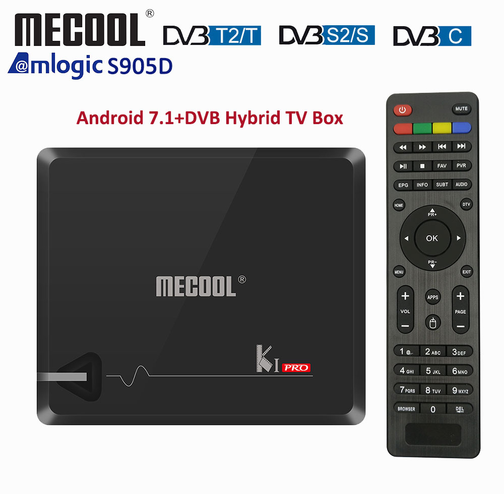 DDR4 Mecool KI PRO Smart TV Box With DVB T2 DVB S2 Android TV Box Amlogic S905D Dual WIFI 2.4G/5G Android Satellite Receiver-in Set-top Boxes from Consumer Electronics    1