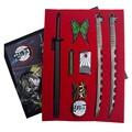Demon Slayer: Kimetsu no Yaiba Kamado Tanjirou Cosplay 16cm Metal Pendant Weapons Keychain Keyring 8 Pieces Set Gift Prop
