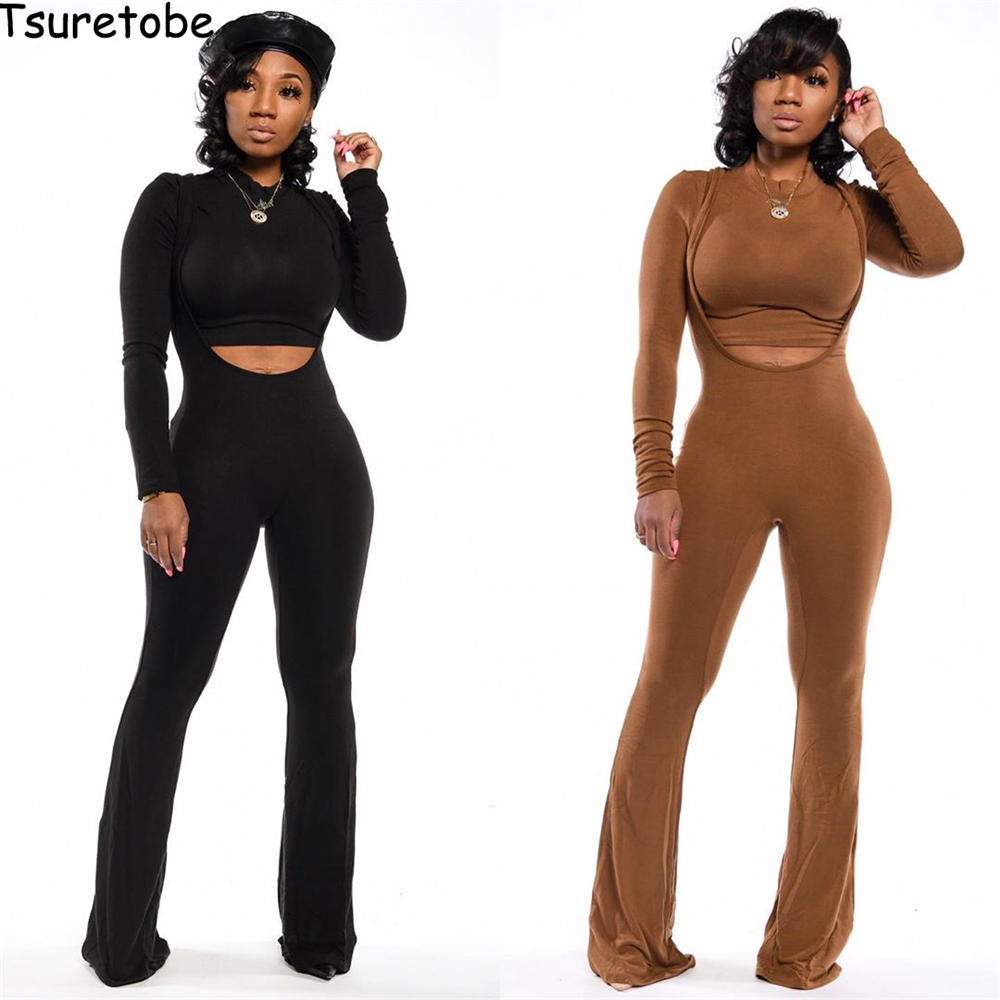Tsuretobe Autumn Tracksuit Women Two Pieces Set Long Sleeve Crop Top And Spaghetti Strap Jumpsuit Skinny Hollow Out Outfits Slim