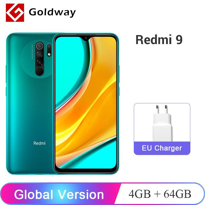Глобальная версия Xiaomi Redmi 9 4 ГБ 64 ГБ смартфон Helio G80 8-ядерный 13Мп Четыре камеры с ИИ 6,53