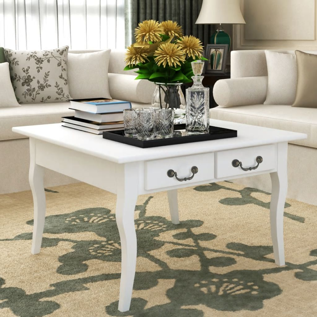 VidaXL VidaXL Coffee Table With 4 Drawers White