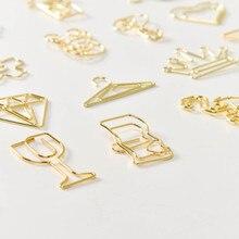 цена на 20Pcs Gold Plated Elegant Pictogram Creative Shaped Paper Clip Bookmark Office Manual Metal Paper Clip