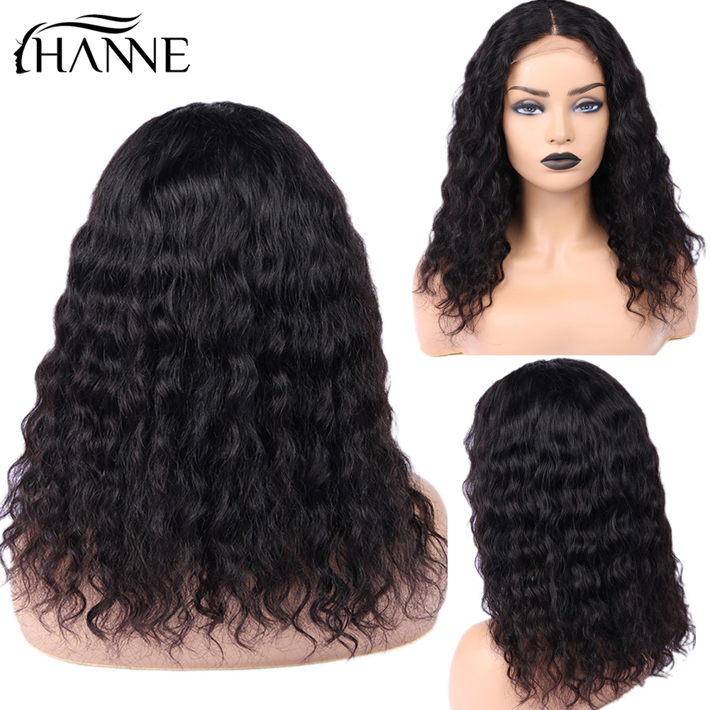 Water Wave 4*4 Lace Closure Wigs 3 Part Human Hair Wigs Glueless 10-20 Inches Remy Lace Wig For Women Natural Color HANNE