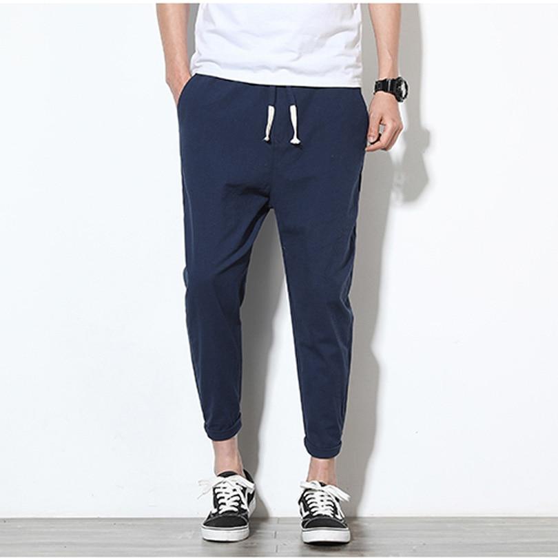 2019 Summer Men's Linen Pants Hip Hop Ankle-Length Men Pencil Pants Solid Color Breathable Comfort Fashion Linen Pants Men K35