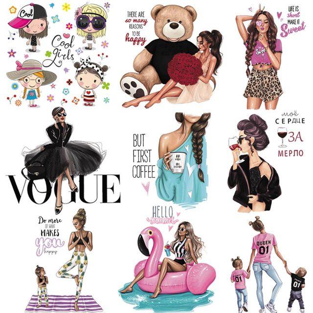 Transfert fer-on pour filles | Patchs de style russe, bricolage pour vêtements, patchs lavable transfert de chaleur, appliques fer sur t-shirt robes