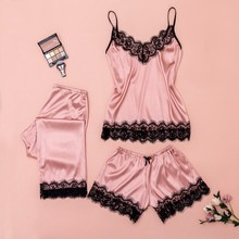 Sexy Women Pajamas 3 Pieces Sets Satin Sleepwear Pijama Silk Home Wear Embroidery Sleep