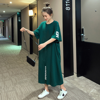 #4952 Summer Green T Shirt Dress Women Cotton Plus Size Short Sleeves T Shirt Dresses Split Loose O Neck Ladies Midi Dresses brown v neck long sleeves loose plunge t shirt dress