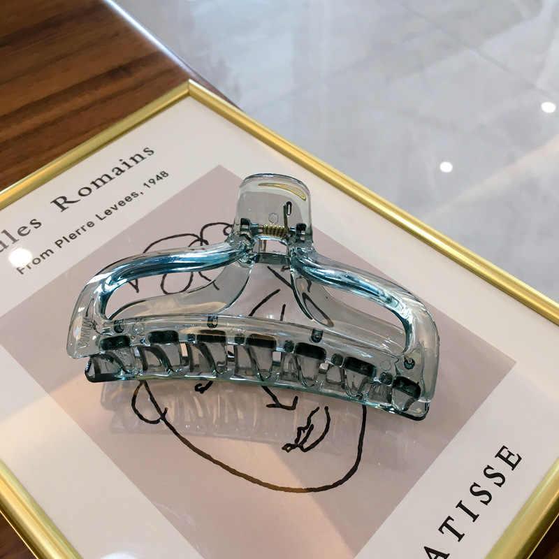 Mode INS Koreanischen Transparente Gelee Farbe Haar Klaue Clips Für Frauen Egirls Kunststoff Krabben Für Haar Pferdeschwanz Halter Headwear