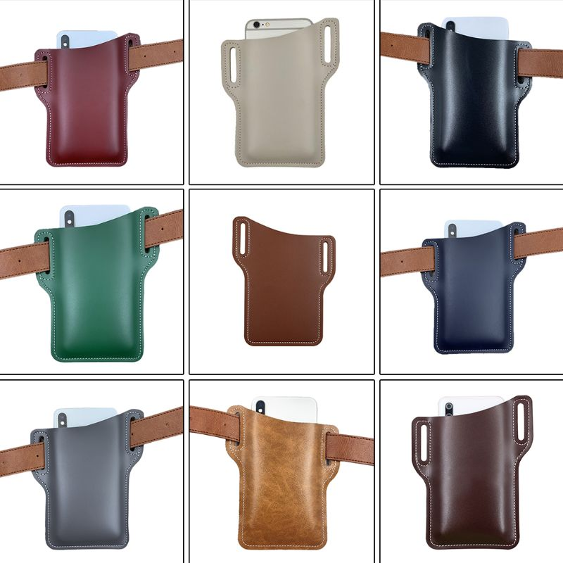 Universal Men Artificial Leather Mobile Phone Carrier Belt Bum Bag Women Waterproof Cellphone Loop Holster Protection Waist Bag image