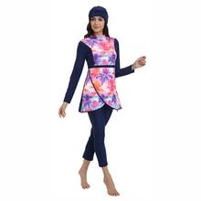 HAOFAN New Muslim Swimwear Women Modest Patchwork Hijab Long Sleeves Sport Swimsuit Islamic muslimah Burkinis Wear Bathing Suit