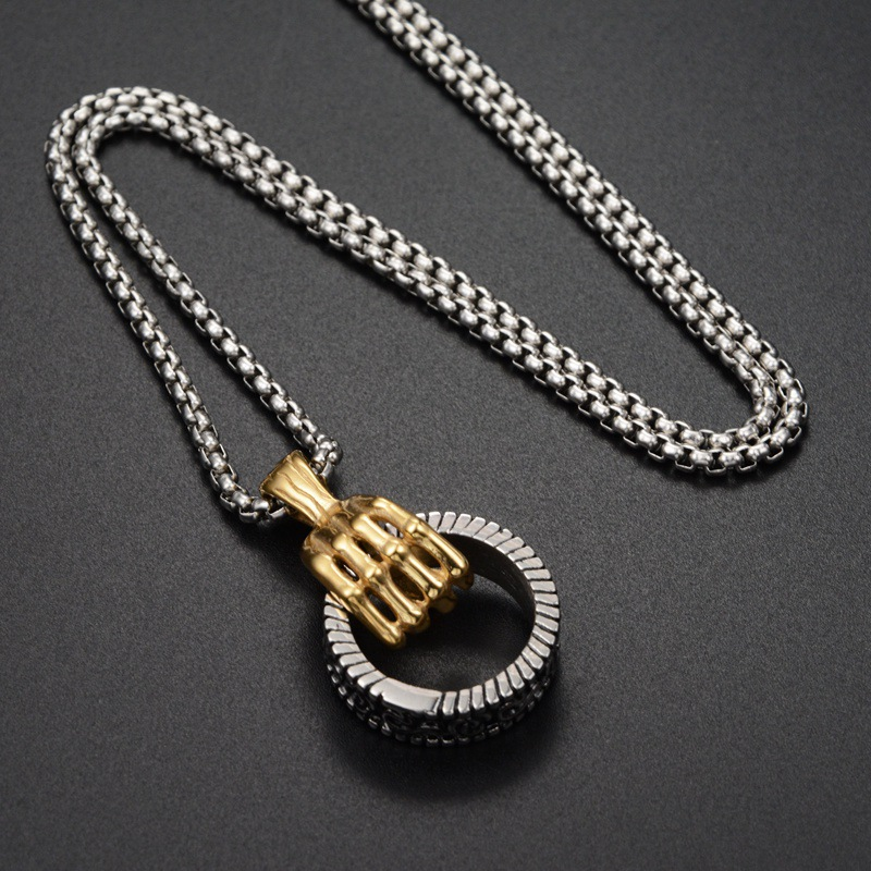 """HipHop Ancient Grey Men Dog Tag Pendant Necklace 20/"""" Chain Stainless Steel Biker"""