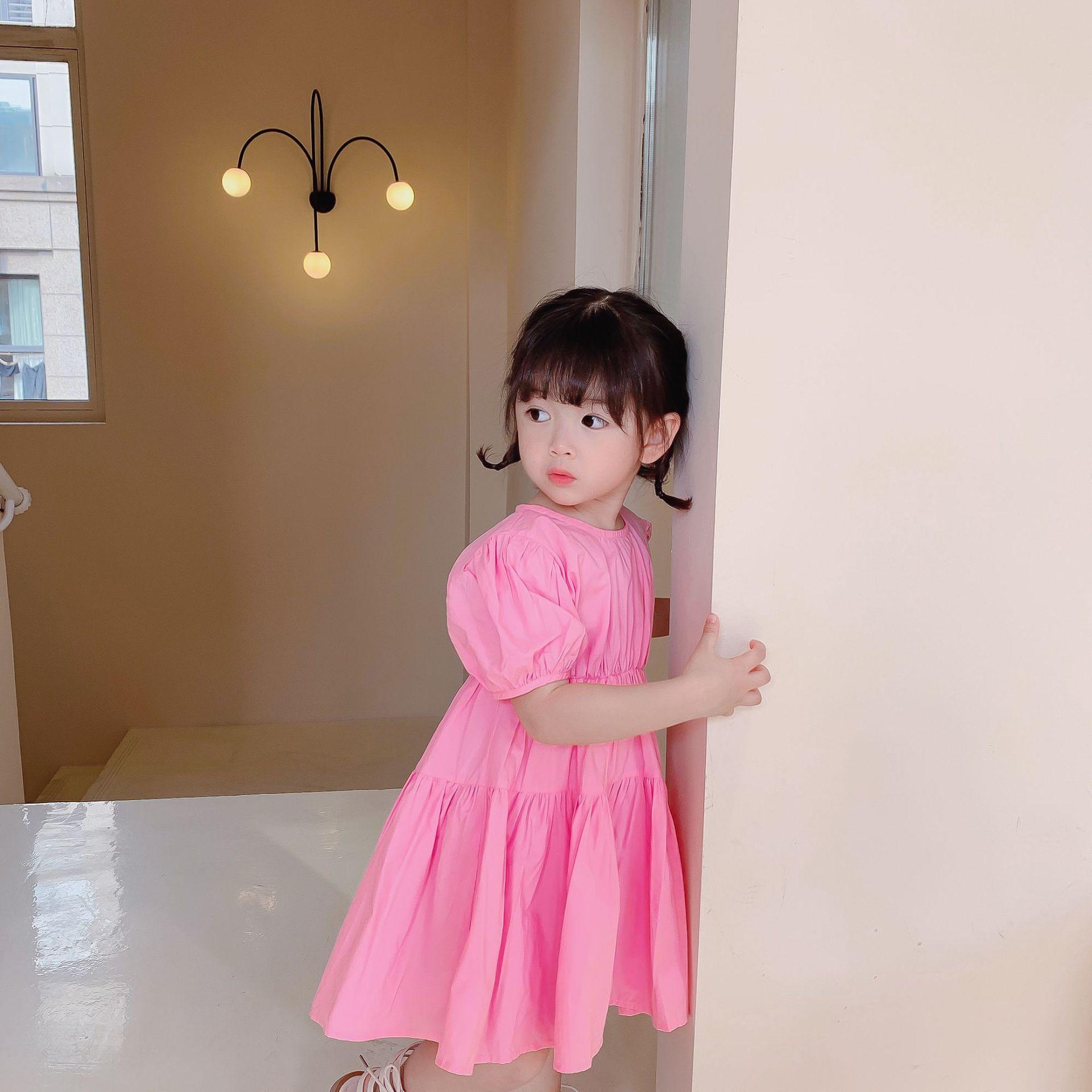 Lato 2021 cute dziewczynek ruched sukienka z krótkim rękawem dla dzieci bawełna casual różowy księżniczka sukienki