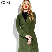 цена на YONIS 2019 Autumn Winter Women Trench Coat Lapel Collar Self-tie Belt Long Sleeves Pockets Casual Work  Streetwear Jackets