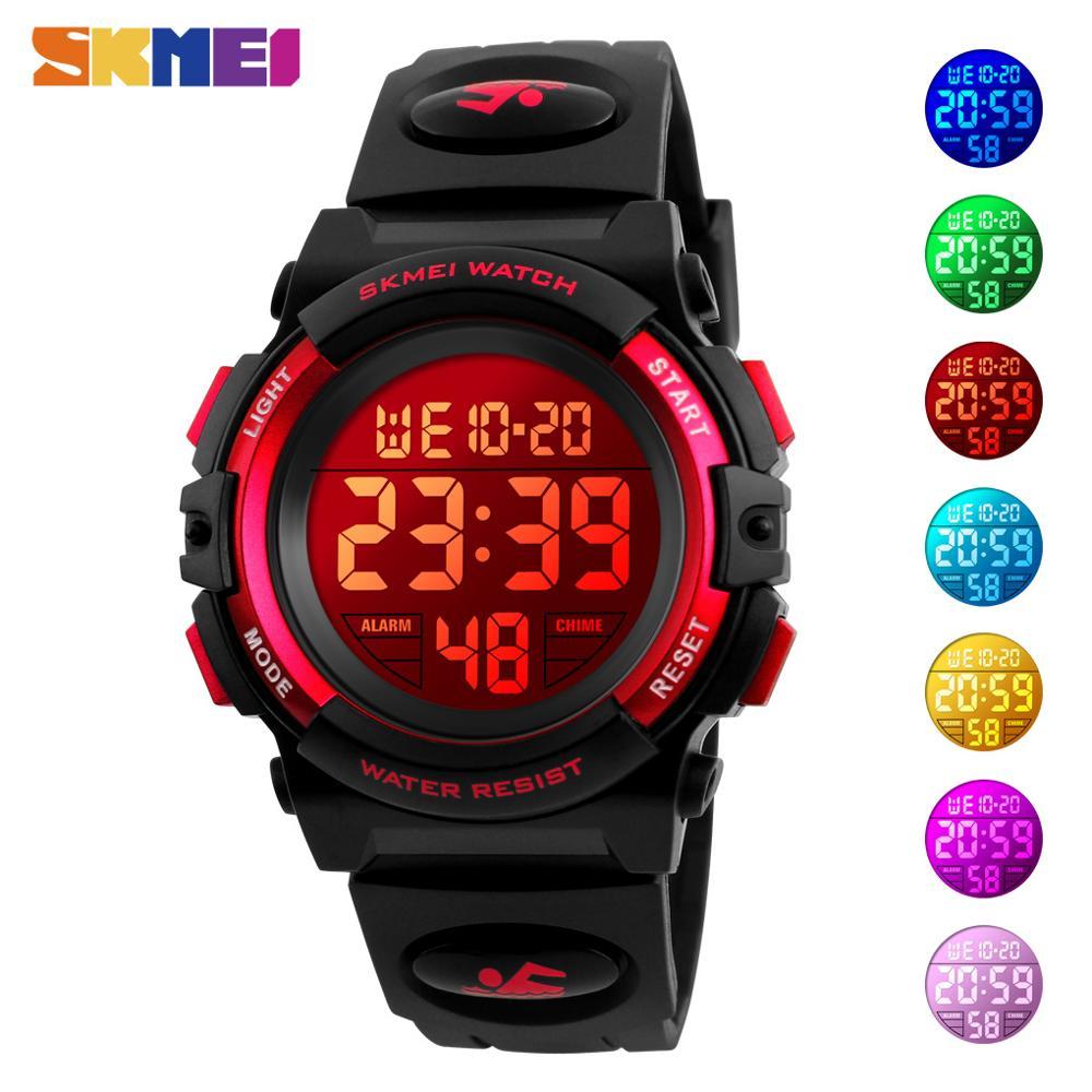 SKMEI Kinder Armbanduhren Kinder LED Digital Uhr Jungen Mädchen Sport Uhren Chronograph 5Bar Wasserdichte Uhr Reloj para niños