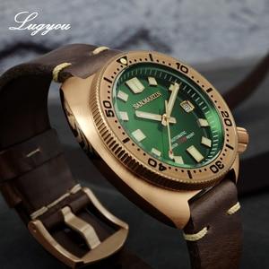 Image 3 - Lugyou San Martin Turtle Diver Men Watch Bronze CuSn8 Automatic NH35 Rotating Bezel 20Bar Sapphire Crystal Leather Strap C3 Lum