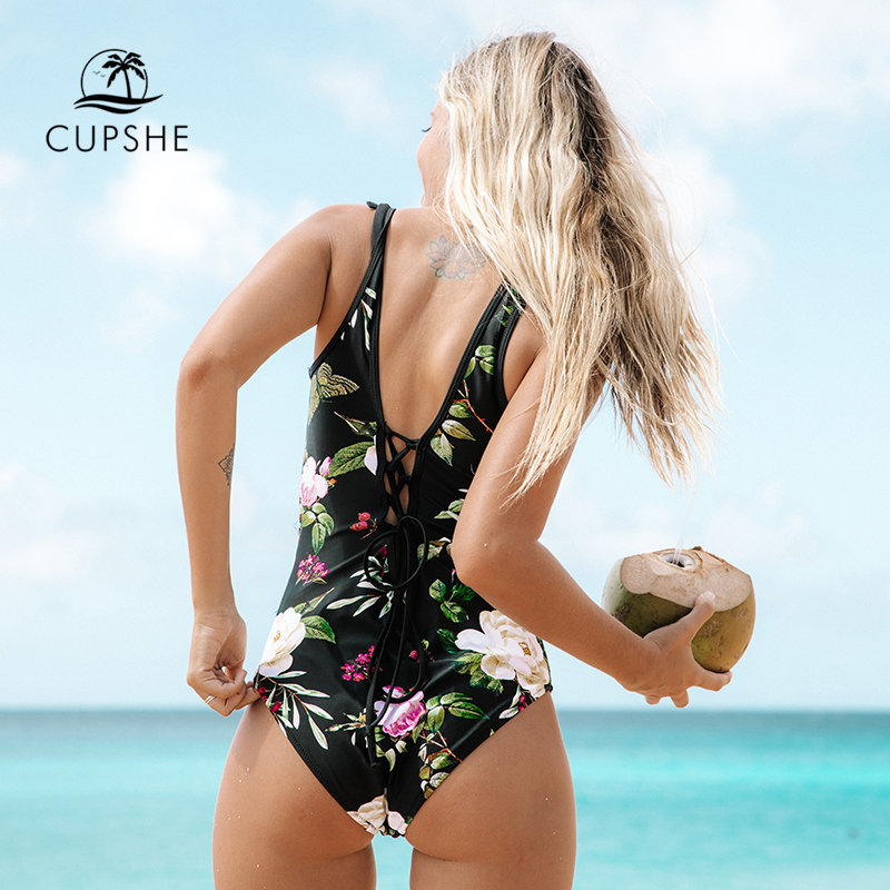 CUPSHE Lotus Floral Print And Mesh Patchwork One-piece Swimsuit Women O-neck Lace-up Monokini 2019 Girl Beach Bathing Swimwear
