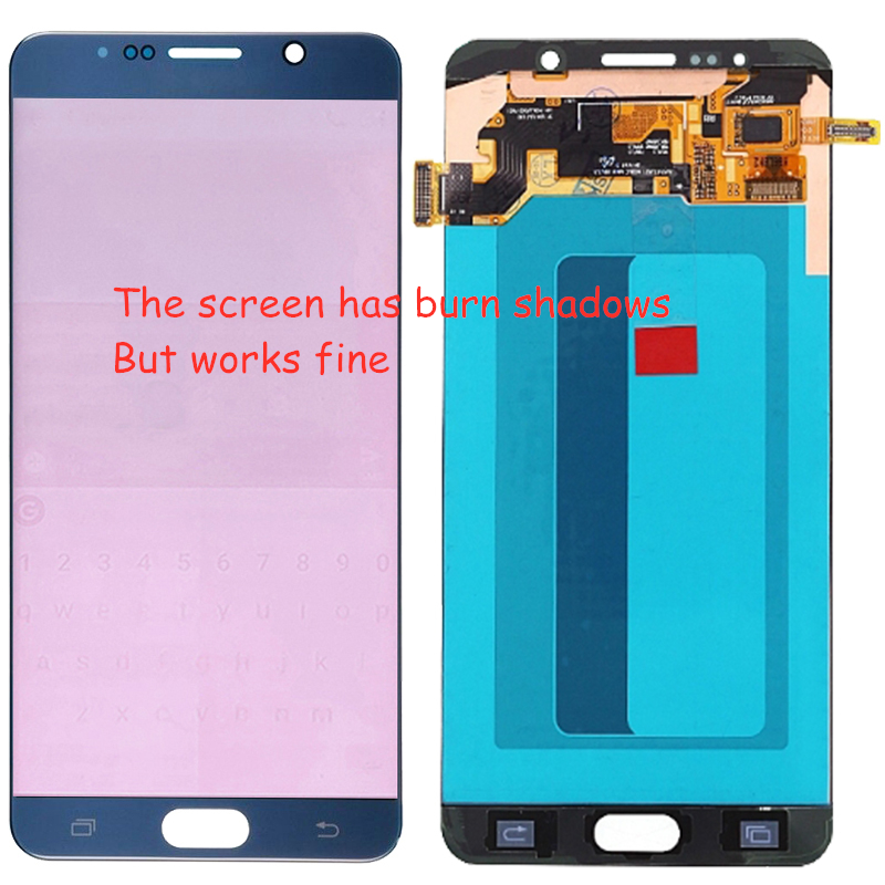 100% Super Amoled <font><b>LCD</b></font> Für Samsung Galaxy <font><b>Note</b></font> <font><b>5</b></font> N920C <font><b>LCD</b></font> Touch Screen Montage SM-N920F <font><b>LCD</b></font> Display Bildschirm Mit Brennen schatten image