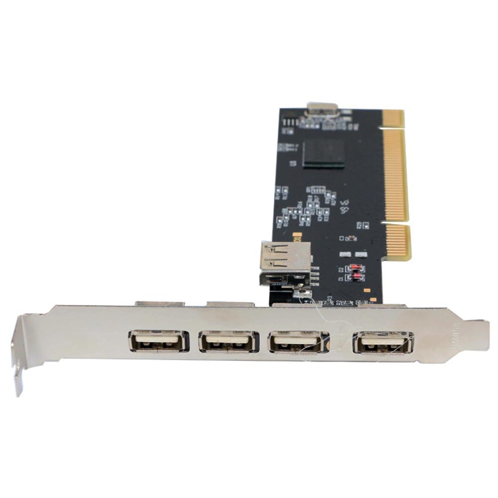 Adaptor 480Mbps Desktop Converter Hub Internal Accessories PCI Card USB 2.0 Black High Speed 5 Ports Controller Durable