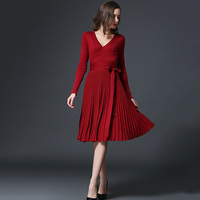 Elegant Wine Red Pleated Sweater Dress Women 2019 Spring Autumn Long Sleeve V Neck Sashes A line Midi Long Knit Dresses P 233