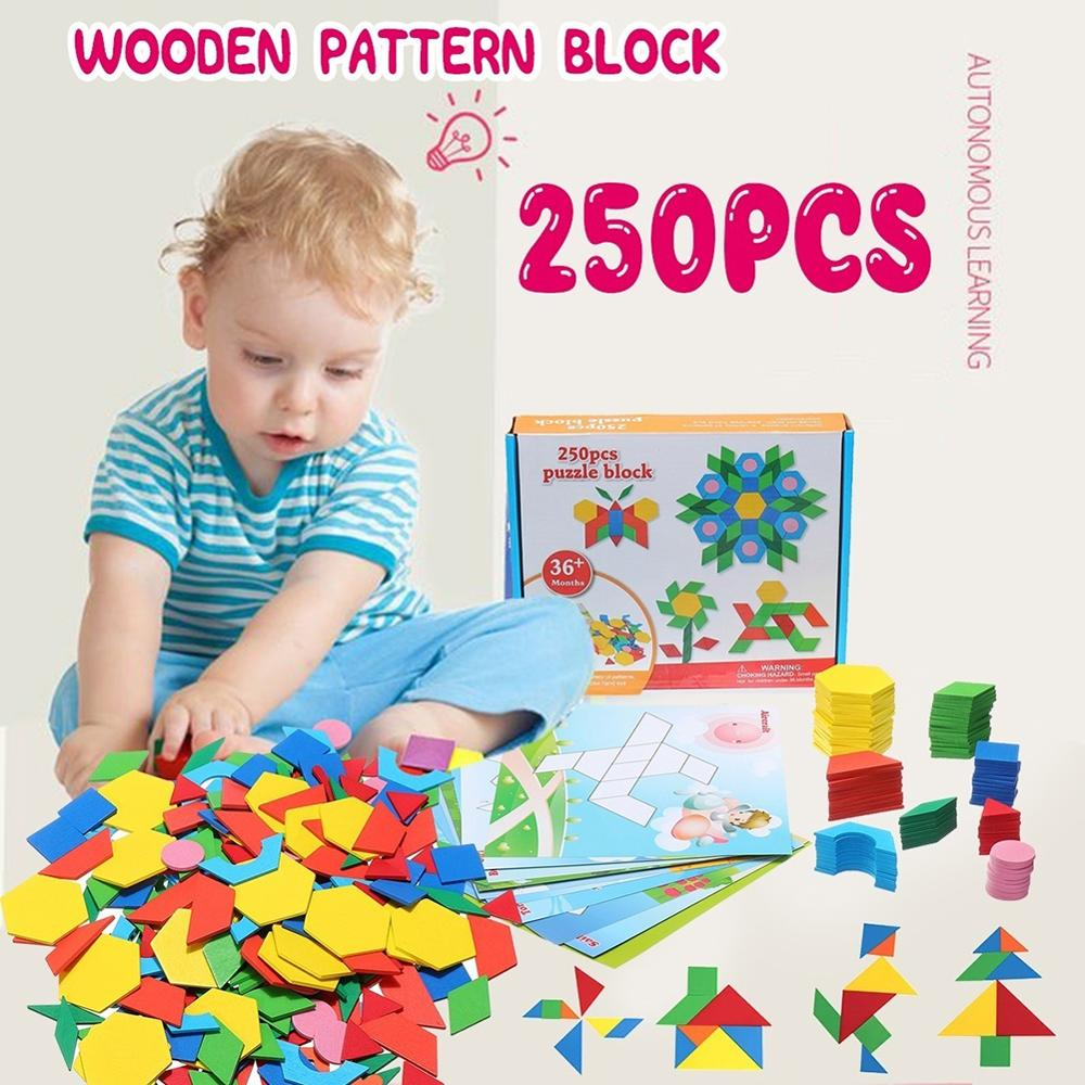 250Pcs Wooden Tangram Geometry Puzzles Building Brain Training Education Kid Toy