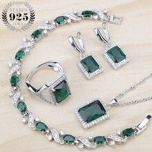 Verde zircônia cúbica senhoras prata 925 conjuntos de jóias brincos/pingente/colar/anéis/pulseiras para moda feminina 2018 presente caixa